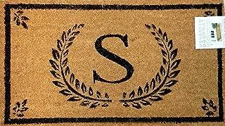 Evergreen Natural Coir Fiber Monogram Doormat S