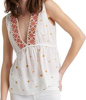 Lucky Brand womens EMBROIDERED SLEEVELESS ROMANTIC TOP Shirt