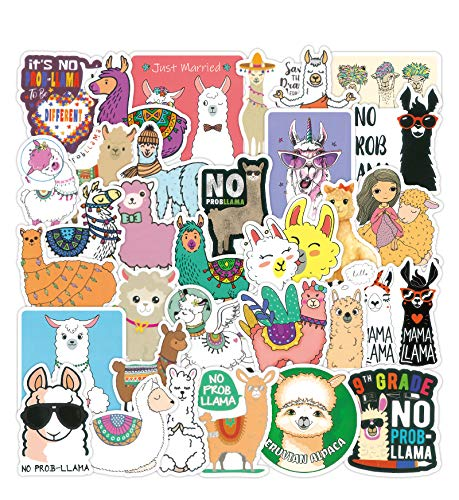 100 PCS Alpaca Water Bottle Sticker Pack Laptop Computer Vinyl Stickers Waterproof Trendy Stickers for Teens Girls Boys for Laptop Stickers Motorcycle Bicycle Skateboard Luggage Phone