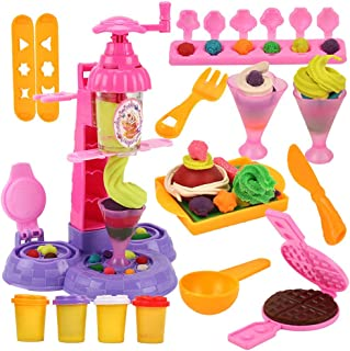 EsOfficce Ice Cream Dough, Dough Play Set,Ice Cream Play Set,Dough Tools Set, Pretend Play Ice Cream Maker for Girls 3 Years