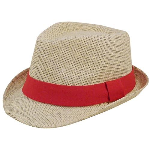 Eqoba Man and Women s Summer Short Brim Natural Straw Fedora Hat 497b1adbe6c
