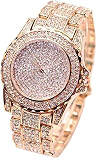 Luxury Women Watch Bling Bling Fashion Jewelry Crystal Diamond Rhinestone Ladies Watches Steel Band Round Dial Analog Clock Classic Quartz Female Charm Bracelet Dress Wristwatches