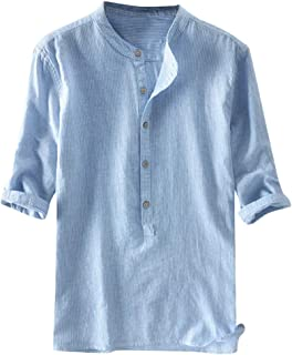 IHGTZS T-Shirts for Men, Fashion Men's Stripe Button Casual Linen and Cotton Long Sleeve Top Blouse Light Blue