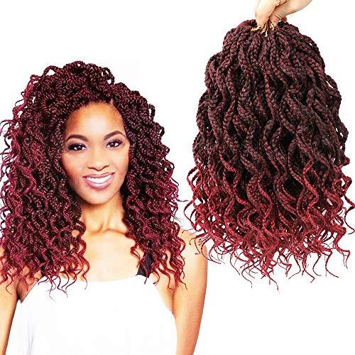 Goddess Box Braids Crochet Braids Hair with Full Curly Braids Synthetic Kanekalon Fiber Braiding Hair 14 Inch 5Packs/Lot (14inch, TBUG)