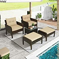 Teeker 5-Piece PE Rattan Wicker Outdoor Patio Furniture Set
