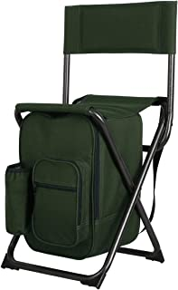 PORTAL Lightweight Backrest Stool Compact Folding Chair Seat with Cooler Bag and Shoulder Straps for Fishing, Camping, Hiking, Supports 250 lbs
