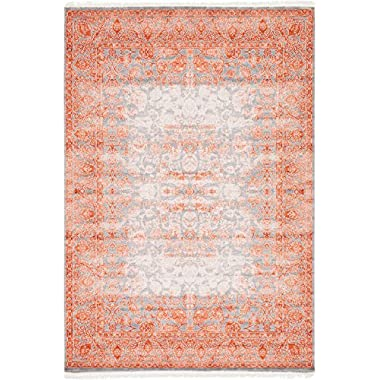 Vintage Castle Collection Rugs Terracotta 7' x 10' FT Area Rug - Modern & Traditional Design - Home Décor