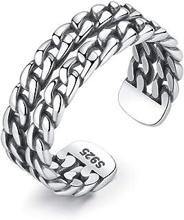 S925 Anello d'argento tailandese femminile doppio esagerato catena Twist Style