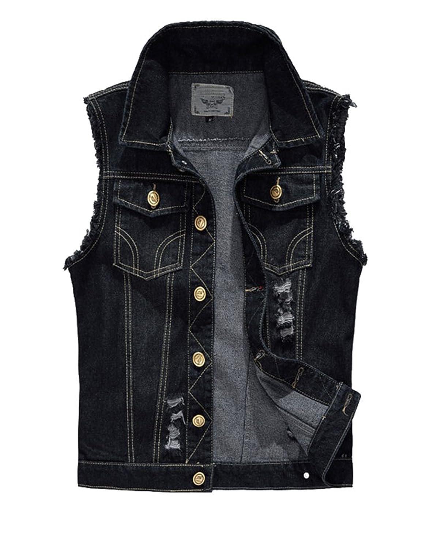 Idopy デニム ベスト チョッキ 袖なし ダメージ加工 ブラック 大きサイズ カジュアル メンズ