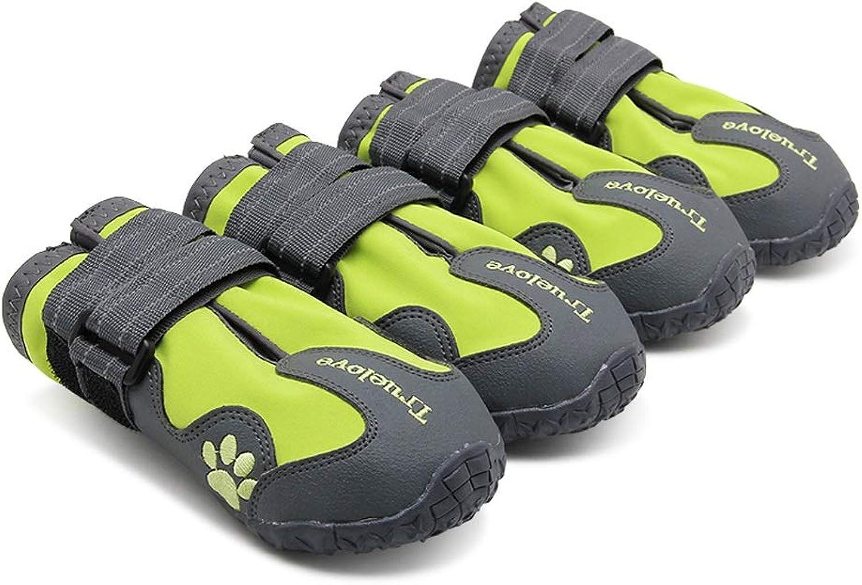 Qinniao Dog Boots Pet Boots Waterproof NonSlip shoes Big Dog Schnauzer golden Hair Alaskan Dogs, A Set of Four, Green orange Red Black Premium pet shoes (color   Pink, Size   XL)