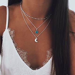 Bohemian Turquoise Layer Half-Moon Necklace Chain Silver Crescent Choker Necklace for Women