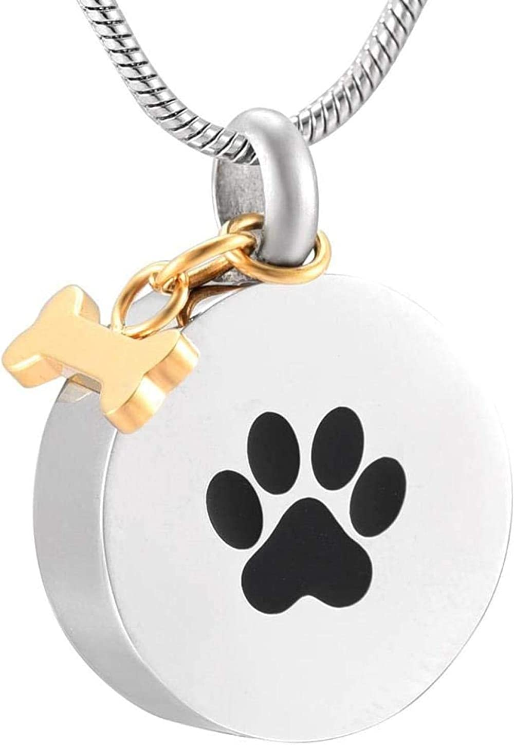 Cremation Jewelry Urn Urns Ashes Pendant Jewelry Pet Urn Necklace with Gold Bone Charm for Dog Ash Holder Keepsake Stainless Steel Cremation Jewelry Memorial