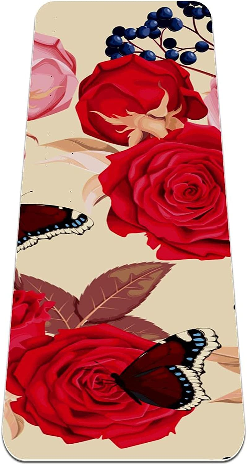 Yoga Mat Butterfly Rose Thick 5 popular Exercise suitable for Slip 2021 new Non