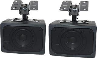 Claret Audio 天井吊りスピーカー 壁掛け 天井ブラケット付き / 20W 小型 店舗スピーカー 取付金具付き (ペア, 黒)
