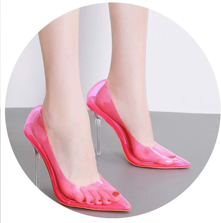 Summer Women Sandals Fluorescent Clear Transparent Thin High Heel Pointy Toe Pumps Court shoes Stilettos