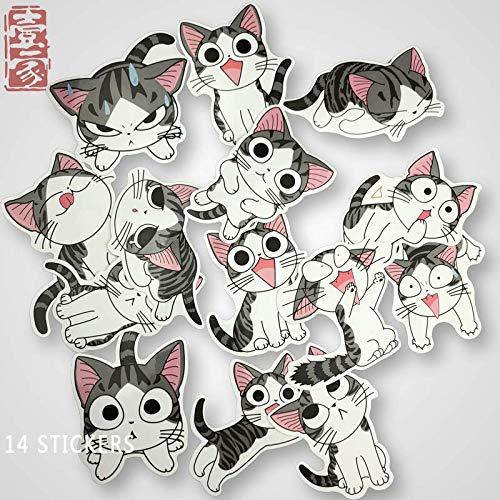 Kaas kat kat Cartoon decoratie koffer koffer Stickers skateboard gitaar motorfiets persoonlijkheid Stickers 14 vellen
