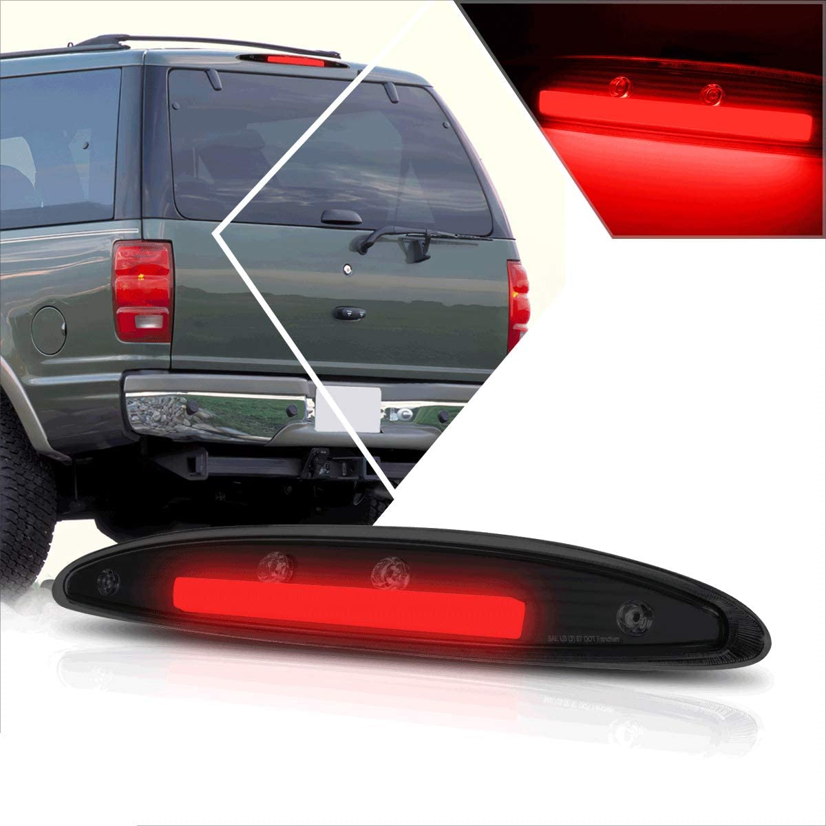 Compatible 全国どこでも送料無料 with Ford Expedition 大人気 97-02 Full Tail LED 3RD Br Third