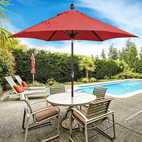 SORARA 9ft Patio Umbrella Outdoor Umbrella Patio Market Table Umbrella with Push Button Tilt & Crank & Umbrella Cover for Garden, Lawn, Deck, Backyard & Pool, Red