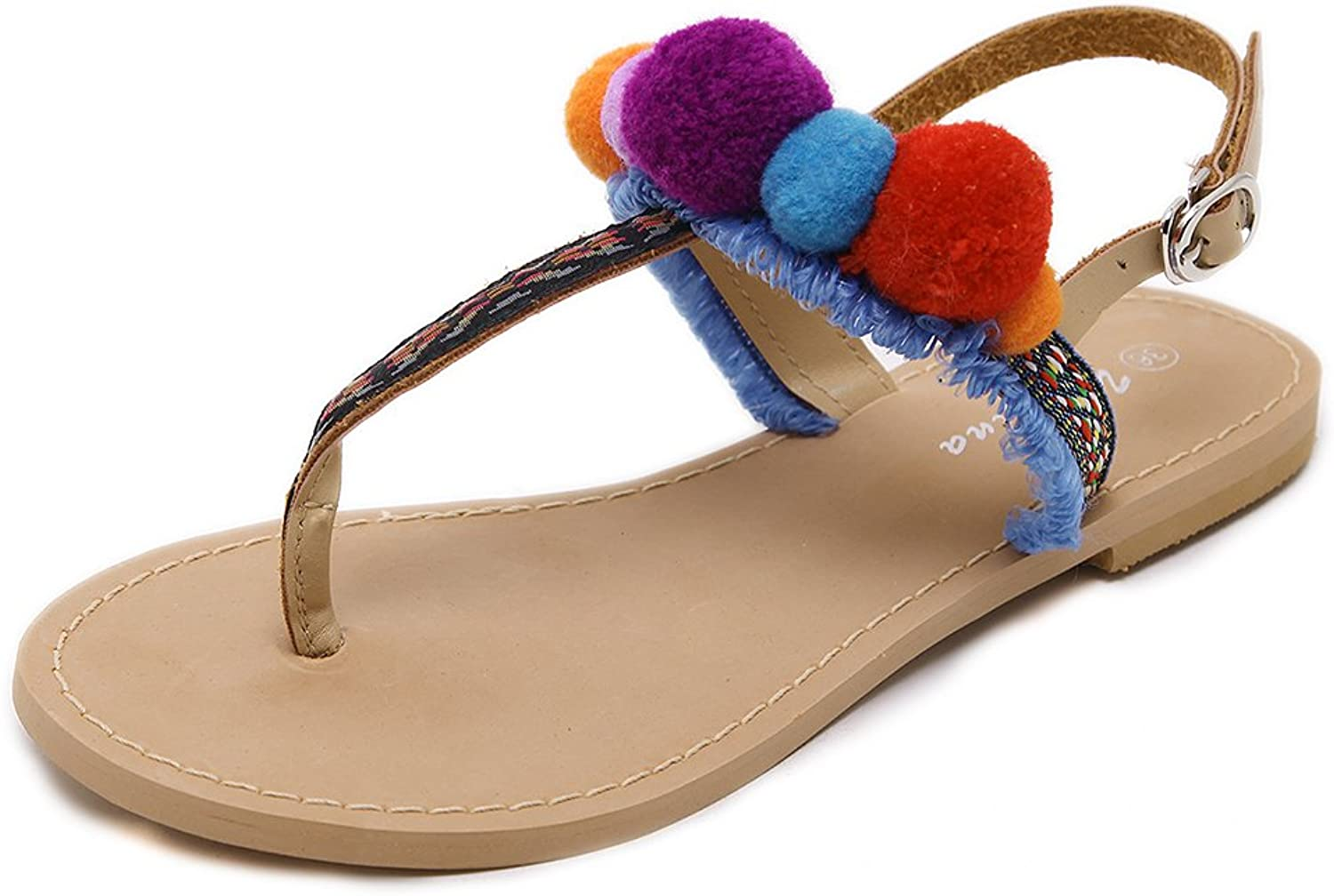 August Jim Women's Bohemian Sandals colorful Pom Pom Embroidery Flat Tassel Flip Flop