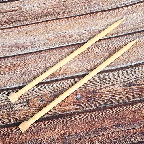 2 pezzi di ferri da tessitura, 13,8 pollici ferri da maglia in legno grandi aghi a punto singolo per maglione sciarpa fai da te (12 mm)