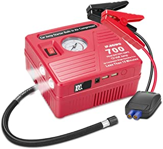 jfegwo Car Jump Starter with Air Compressor, 700 AMP Peak Smart Jump Cable, 120 PSI Air Pump, 18000mAh Li-on Battery Jump Pack, Built-in 2 USB Ports and 2 LED Lights