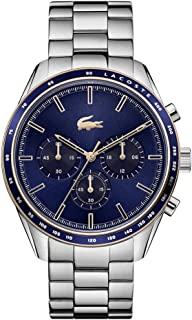 Lacoste Men's Boston Quartz Watch with Stainless Steel Strap, Silver, 20 (Model: 2011081)