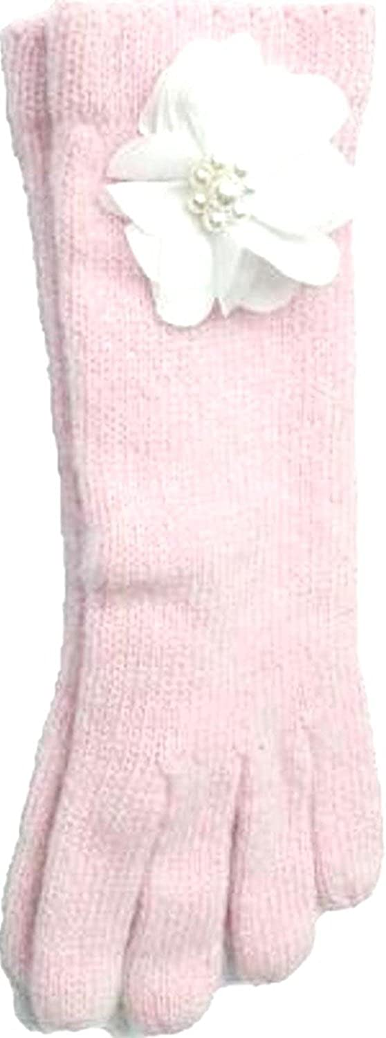 Pink Color Angora Gloves Trimmed with Pearl Chiffon Flowers.