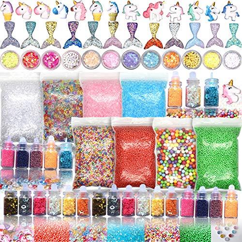 70PCS Slime Add Ins Slime Kit Floam Beads Fish Bowl Beads Mreaind Unicorn Slime Charms Glitter Jars Slime Supplies Kit