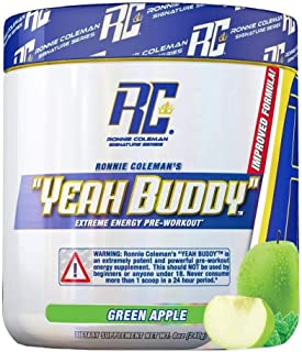 Ronnie Coleman Signature Series Yeah buddy green apple dietary supplement, Green Apple, 9.5oz (270 Grams)