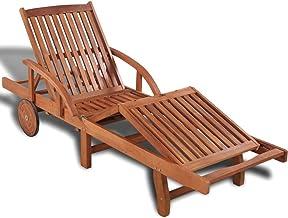 vidaXL Solid Acacia Wood Sun Lounger Bed Reclining Chair Outdoor Garden Beach