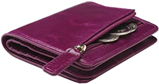 Women's Rfid Blocking Small Compact Bifold Leather Pocket Wallet Ladies Mini Purse with id Window (Waxed Fuchsia)