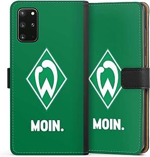 DeinDesign Klapphülle kompatibel mit Samsung Galaxy S20 Plus Handyhülle aus Leder schwarz Flip Case SV Werder Bremen Offizielles Lizenzprodukt Moin