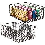 mDesign 2er-set Allzweckkorb aus Metalldraht – flexibler Aufbewahrungskorb für die Küche, Vorratskammer etc. –großer und universeller Drahtkorb mit Griffen – bronzefarben