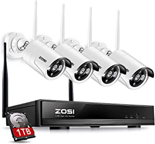 ZOSI Wireless Security Cameras System, 4CH 1080P HD Network IP NVR with 1TB Hard Drive and (4) HD 960P(1.3 Megapixel) Wireless Weatherproof Indoor Outdoor IP CCTV Cameras with 100ft Night vision