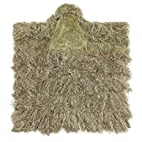 DoCred Ghillie Suit Ghillie Poncho Hunting with 3D Lightweight Hooded Camouflage Kids Ghillie Suit(Wilderness Desert Suit)