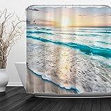 Baccessor Tropical Sea Beach Ocean Waves Shower Curtain, Bathroom Decor Shower Curtain Set with Hooks, Waterproof Fabric, 72' W x 72' H (180CM x 180CM) - Sea Sunrise