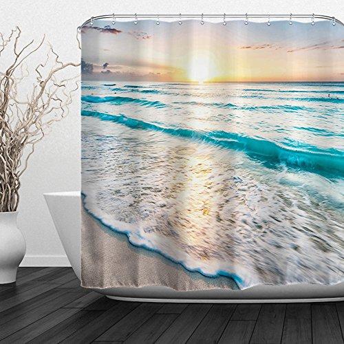 "Baccessor Tropical Sea Beach Ocean Waves Shower Curtain Seaside Scene Island Hawaiian Sunrise Beach Theme Waterproof Fabric Shower Curtain with Hooks,72"" W x 72"" H (180CM x 180CM) - Sea Sunrise"