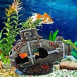 Duokon Acuario de acuario marino de resina artificial, casa dañada cueva submarina