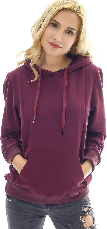 Bearsland Women's Maternity Sporty Hoodie Breastfeeding Shirt Nursing Sweatshirt with Pockets,purplered,s