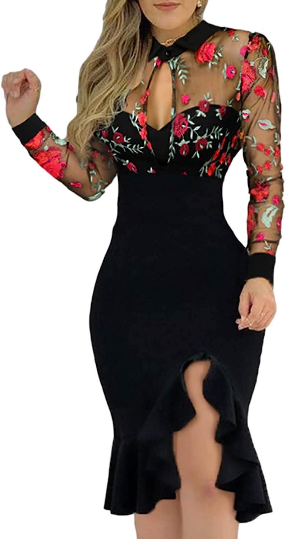 Shakumy Women Dresses V Neck Embroidery Mesh Bodycon Mini Dress Long Sleeve Cocktail Dress Elegant Party Nightclub Dress