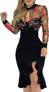 Fulltime® Robe ete Femme,Robe à Manches Longues en Dentelle pour Femmes Robe Amincissante à Motif Floral et à Volants fendus