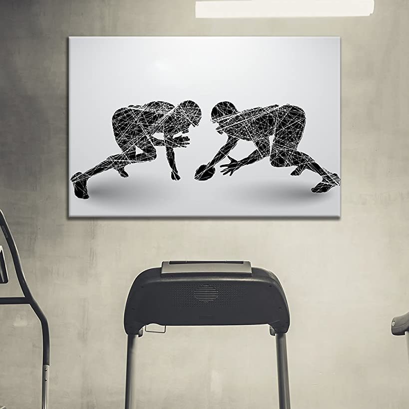wall26 - Canvas Wall Art Sports Theme - Football Players Competition - Giclee Print Gallery Wrap Modern Home Decor Ready to Hang - 12x18 inches