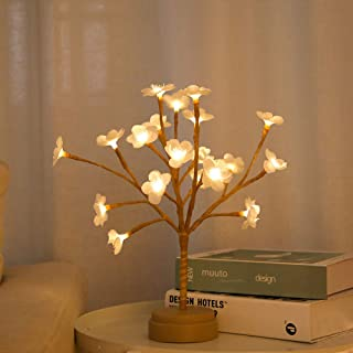 BHCLIGHT Battery Operated LED Plum Blossoms Tree Lights 1ft 20LED Bonsai Lighted Tree Tabletop LED Tree Lamp Spring Home Decor Artificial Plants