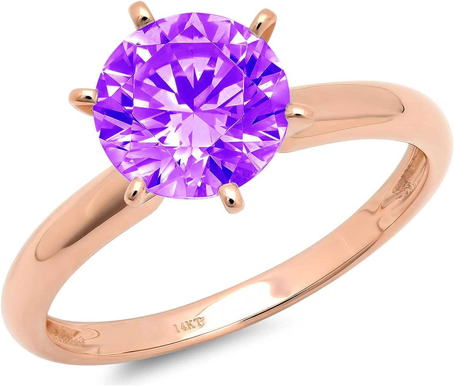 Max 42% OFF Washington Mall 2.4ct Round Cut Solitaire Natural Purple Amethyst VVS1 Excellent