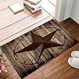 Arts Language Funny Doormats for Entrance Way Indoor Front Door Welcome Rugs Western Texas Star Rustic Wood Grain Printed Non-Slip Bath Mat Kitchen Mat Floor Carpet for Bedroom/Office 16x24inch