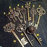 bouti1583 Vintage Skeleton Keys Charm Set Royal Key in Antique Bronze Pack of 12 Keys, 12 Different Style, No Repeat