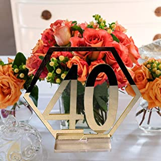 Velidy Table Numbers,1-40Wedding Acrylic Standing Table Numbers with Holder Base for Wedding, Party, Events or Catering Decoration (Gold(1-40))
