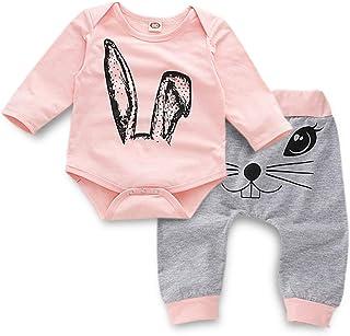 K-youth, Ropa Bebé Niña Conjunto Niña Pantalon y Top Fiesta Bebé Niña Niños Mamelucos de Manga Larga de Conejo de impresión Elegante Otoño Ropa para Bebe Niña Recien Nacido Baratos