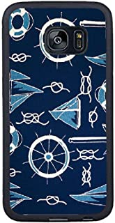 Bbhappiness Personalize Samsung Galaxy S7 Edge Cases - Blue White Nautical Ships Theme Hard Plastic Phone Cell Case for Samsung Galaxy S7 Edge