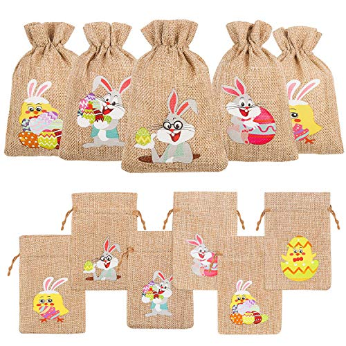 DIYASY Easter Burlap Gift Bags, 36 Pcs Bunny and Chick Candy Bags with Drawstrings for Kids Easter Party Favor